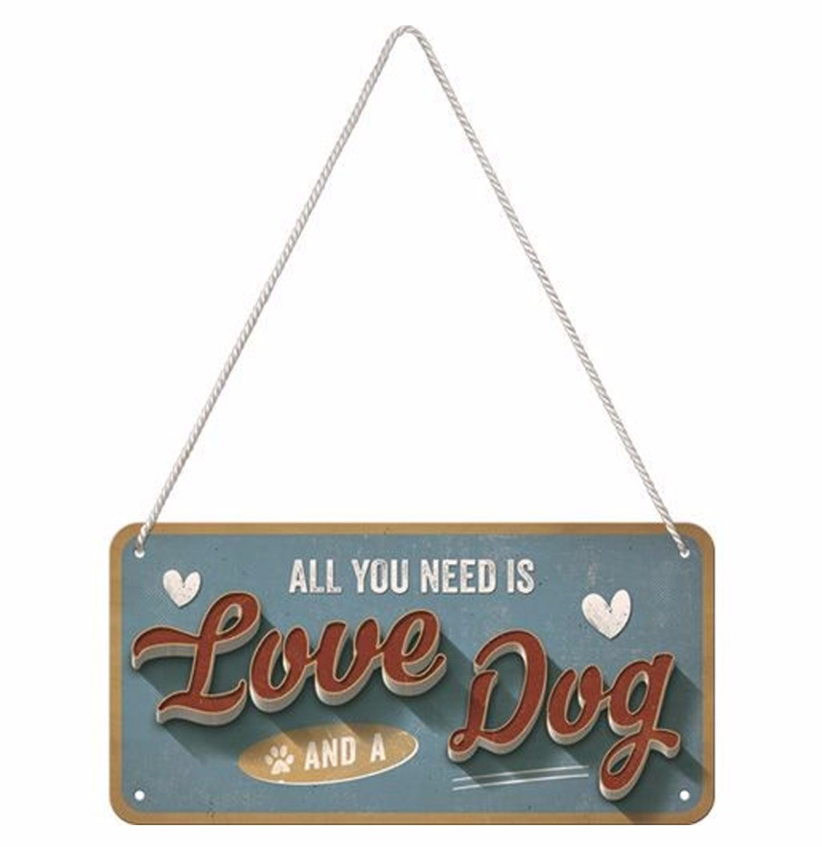 Hangend All You Need Is Love And A Dog Metalen Bord 10 x 20 cm
