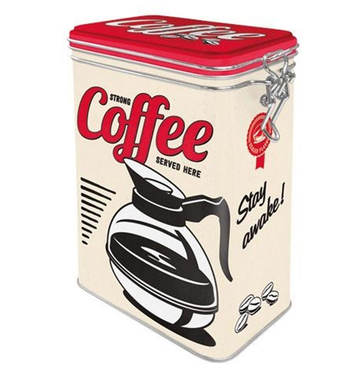 Strong Coffee Served Here Tinnen Blik Met Klip