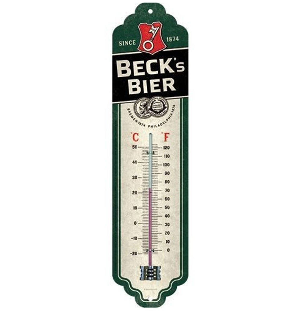 Beck's Bier Logo Green Thermometer