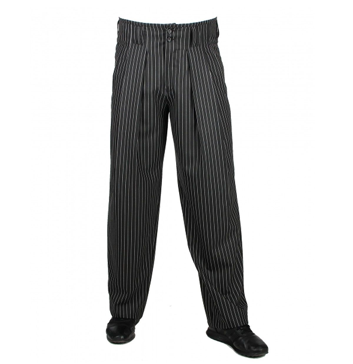 Men's Vintage Pants, Trousers, Jeans, Overalls 40s Boogie Swing Pants Striped Wide Black / White £95.00 AT vintagedancer.com