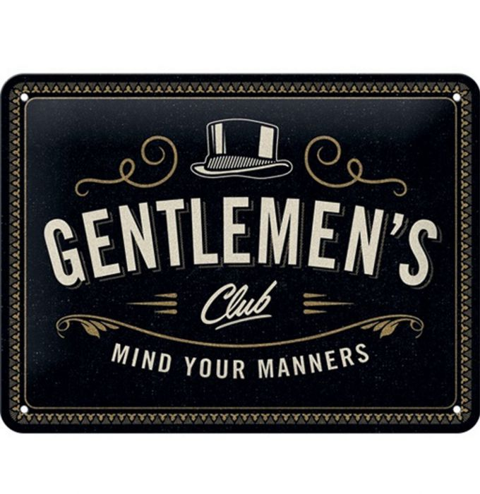 Gentleman's Club Metal Sign - 15 x 20 cm