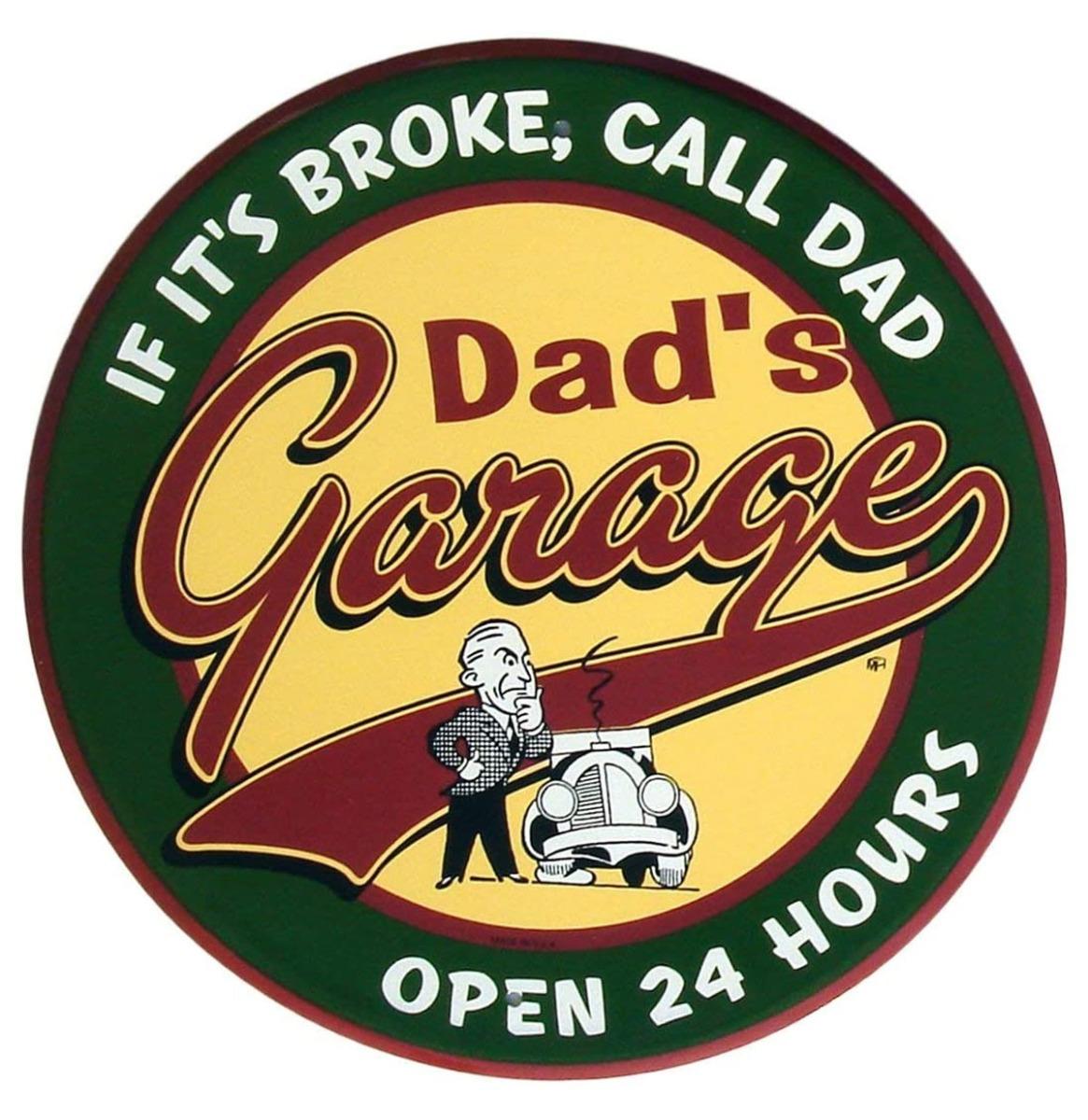 Dad's Garage Open 24 Hours Metalen Bord 60 cm