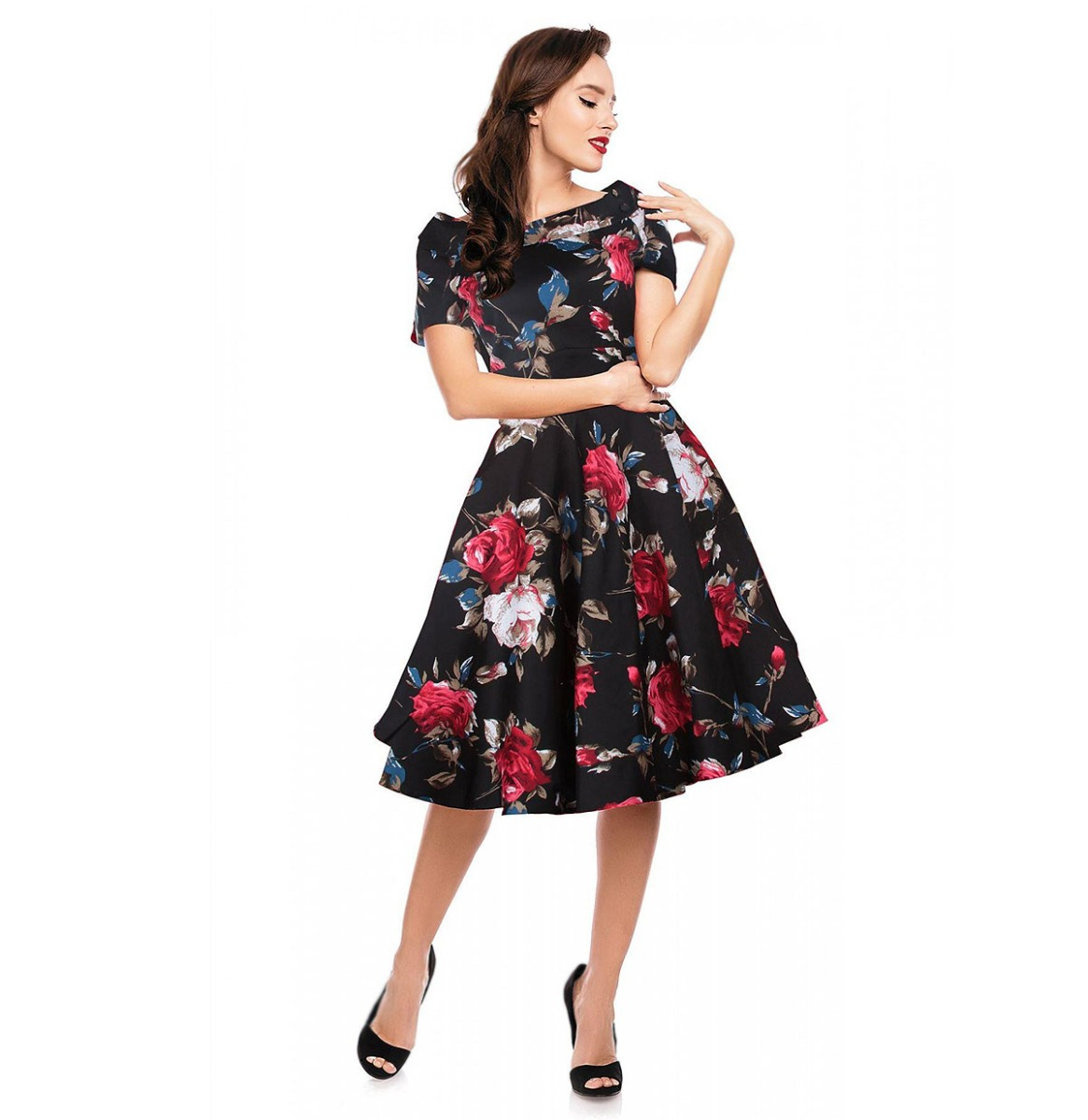 Darlene Retro Floral Roses Swing Dress Black