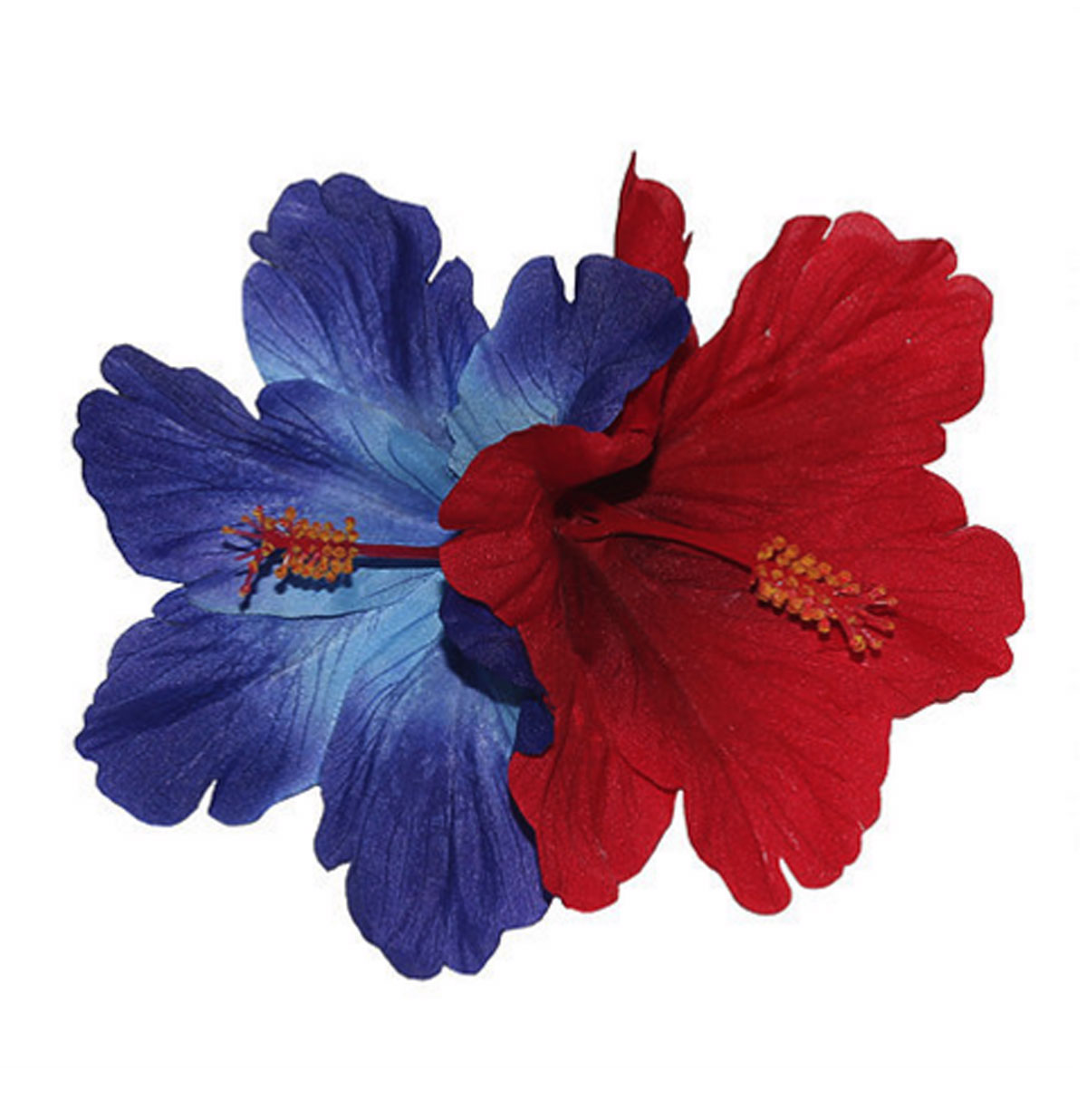 Debra Double Blue and Red Hibiscus Hair Flower