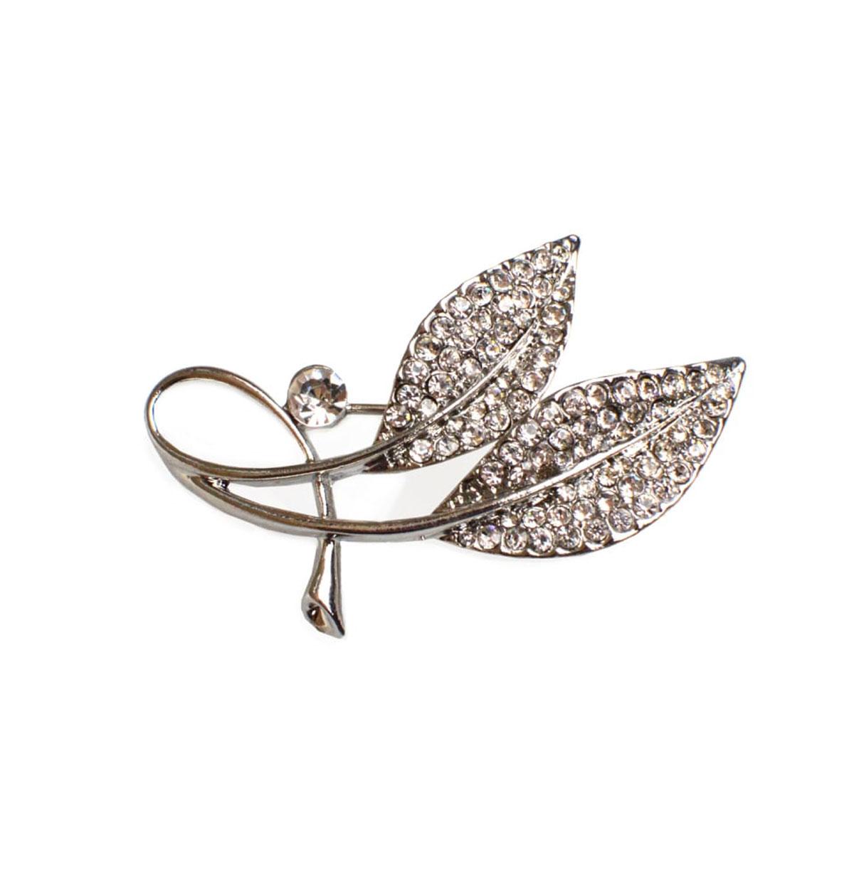 Diamante Leaves Brooch Zilver