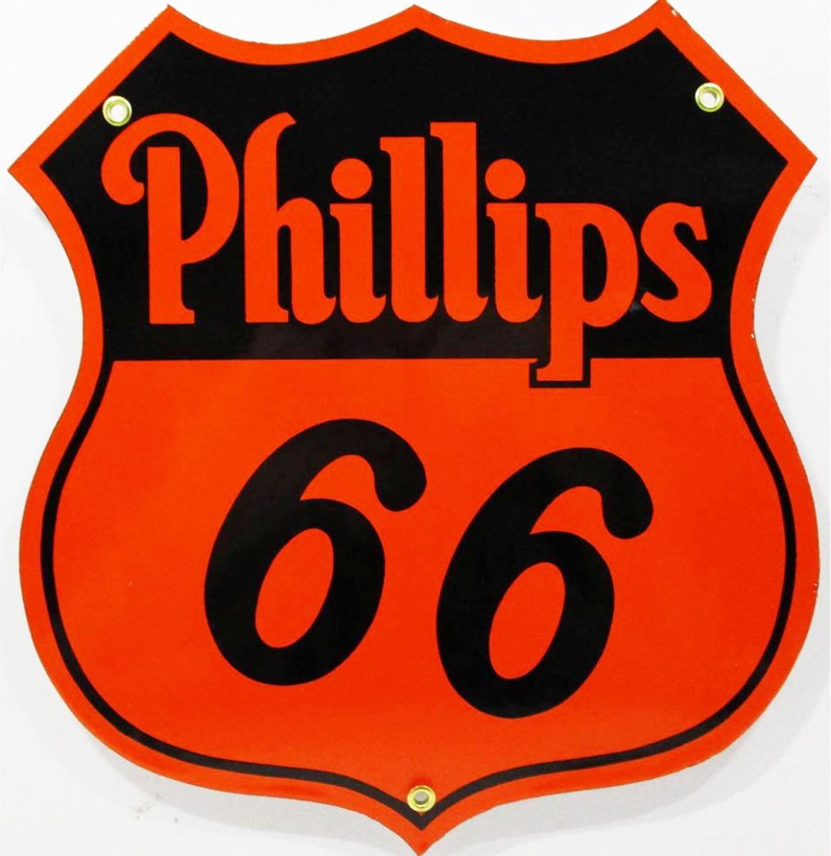 Phillips 66 Oranje Logo Emaille Bord 30 x 28 cm