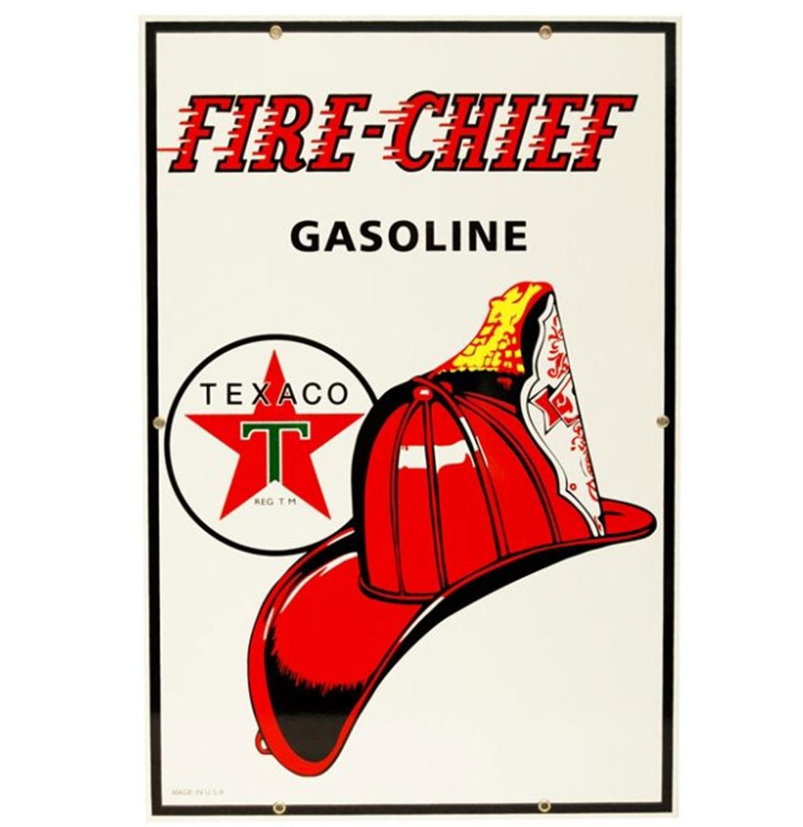 Texaco Fire Chief Gasoline Emaille Bord 46 x 30 cm