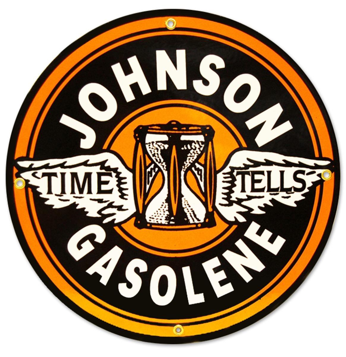 Johnson Gasolene Emaille Bord 30 cm