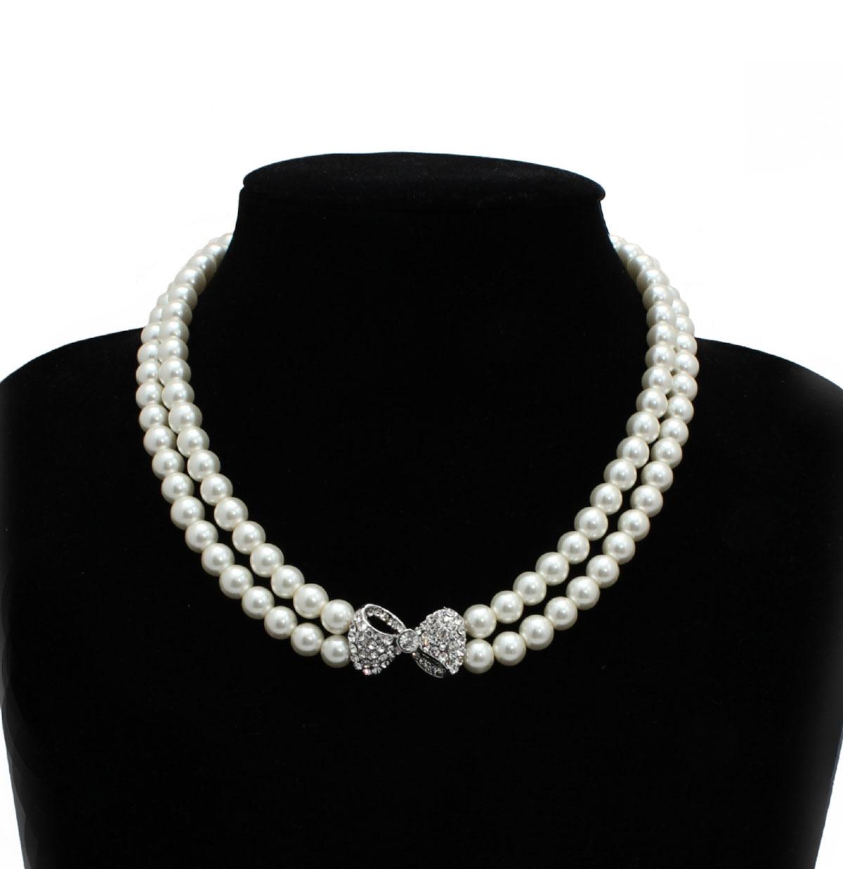 Pearl Necklace Diamante Bow
