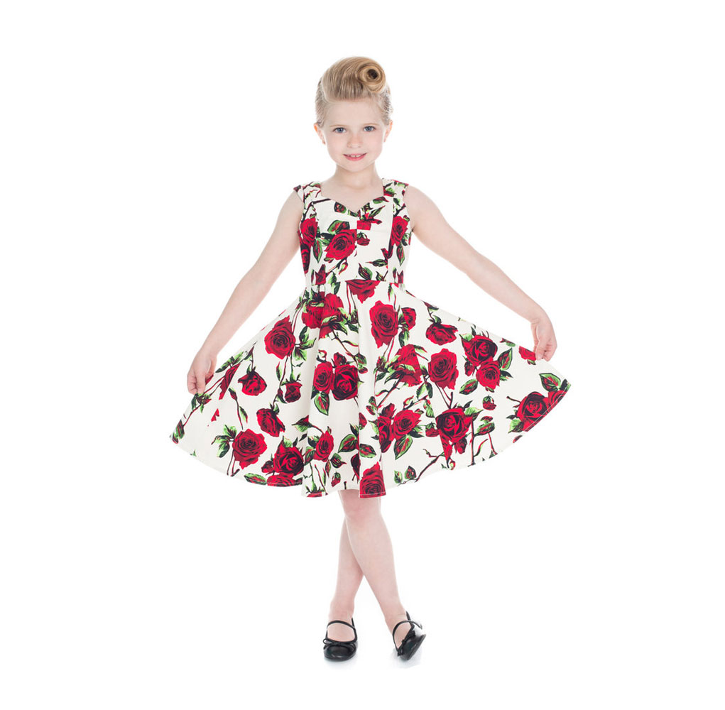 Ditsy Rose Kids Swing Dress Floral Summer