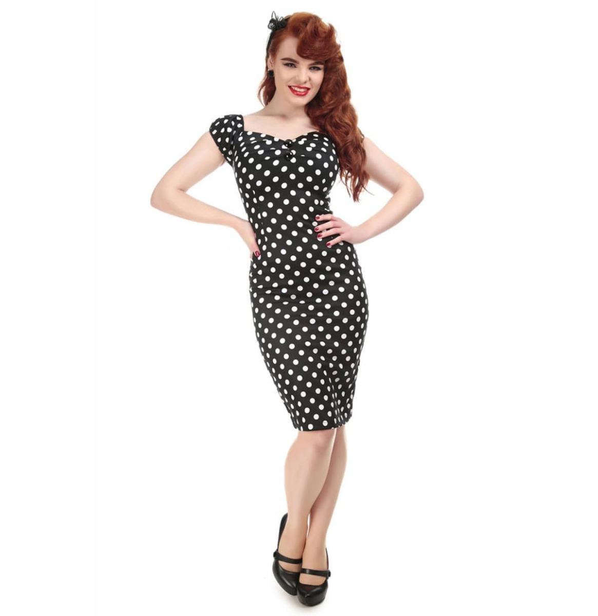 Dolores Pencil Dress Polka Black/White