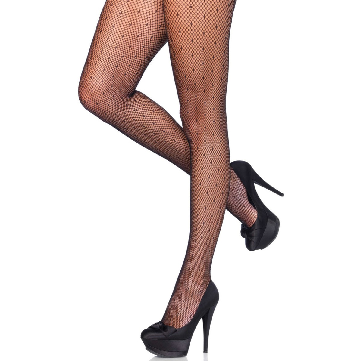 Dotted Net Pantyhose Black
