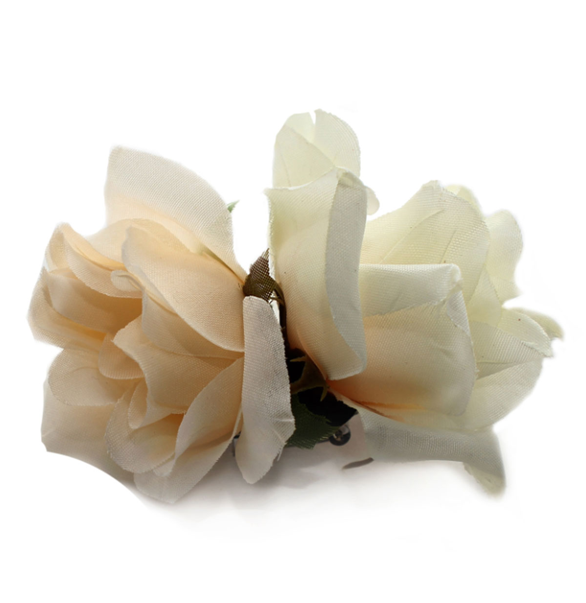 Double Rose Hairclip, White/Ivory