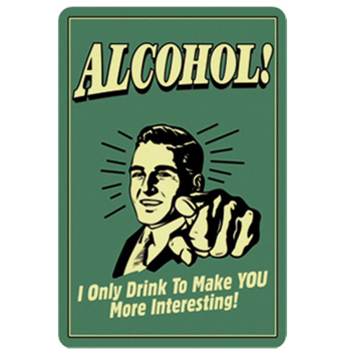 Fiftiesstore Alcohol Metalen Bord 20 x 30 cm