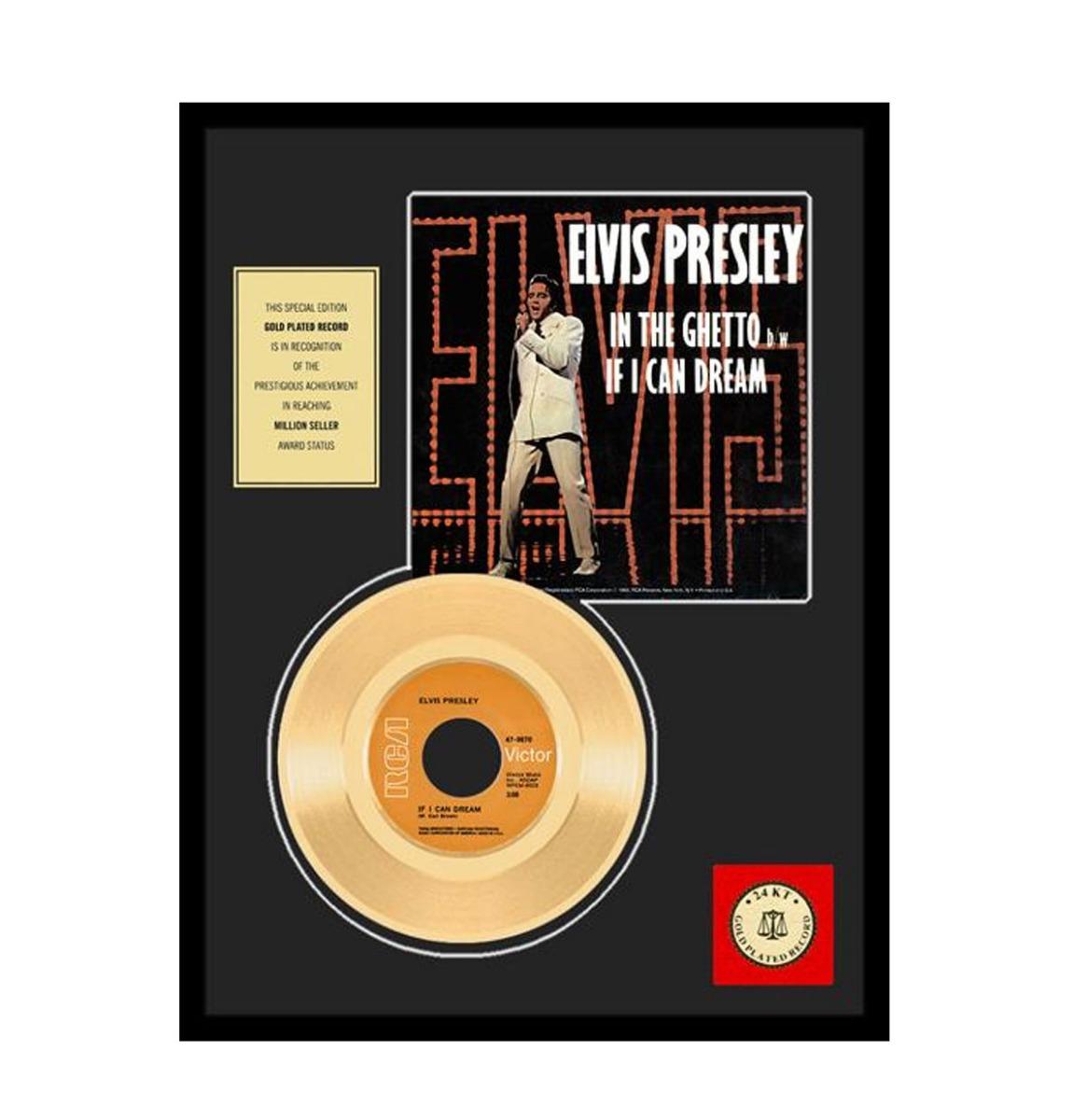 Elvis Presley - If I Can Dream Ingelijst 24 Karaats Gouden Plaat (45)