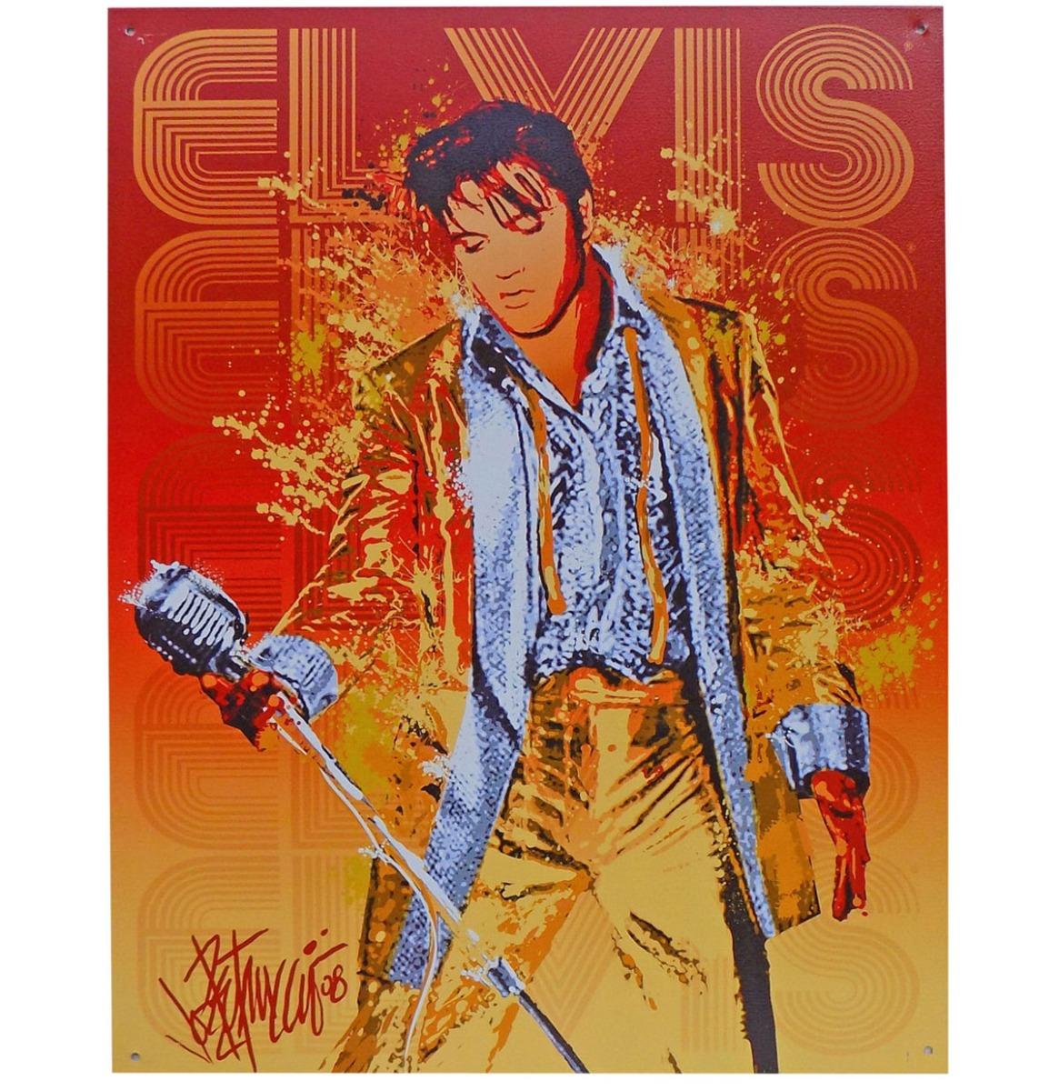 Elvis Presley Zingend In Rood En Geel Metalen Bord - 40 x 30 cm