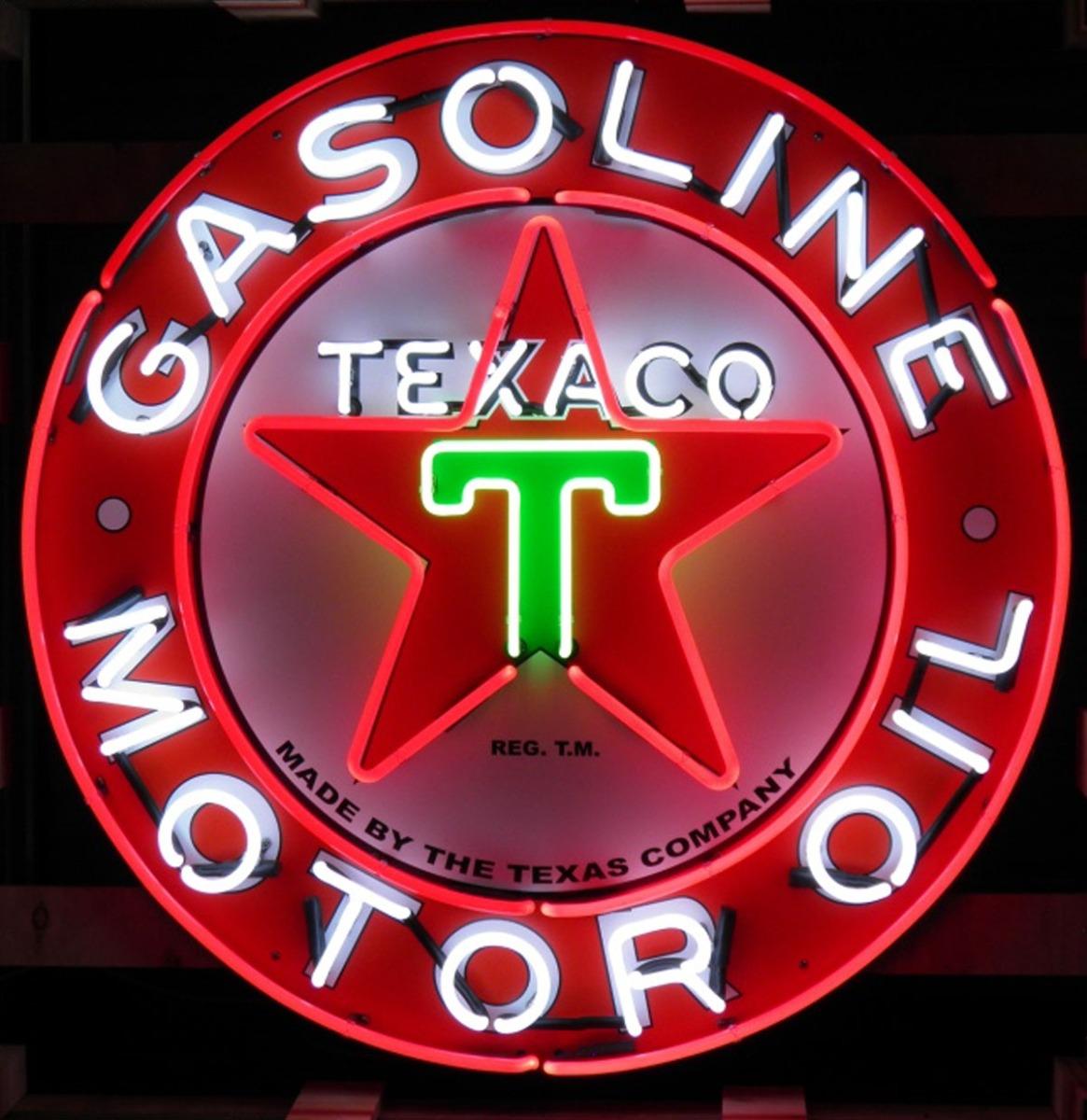 Texaco Motor Oils Logo Neon Verlichting Met Achterplaat XL 100 x 100 cm