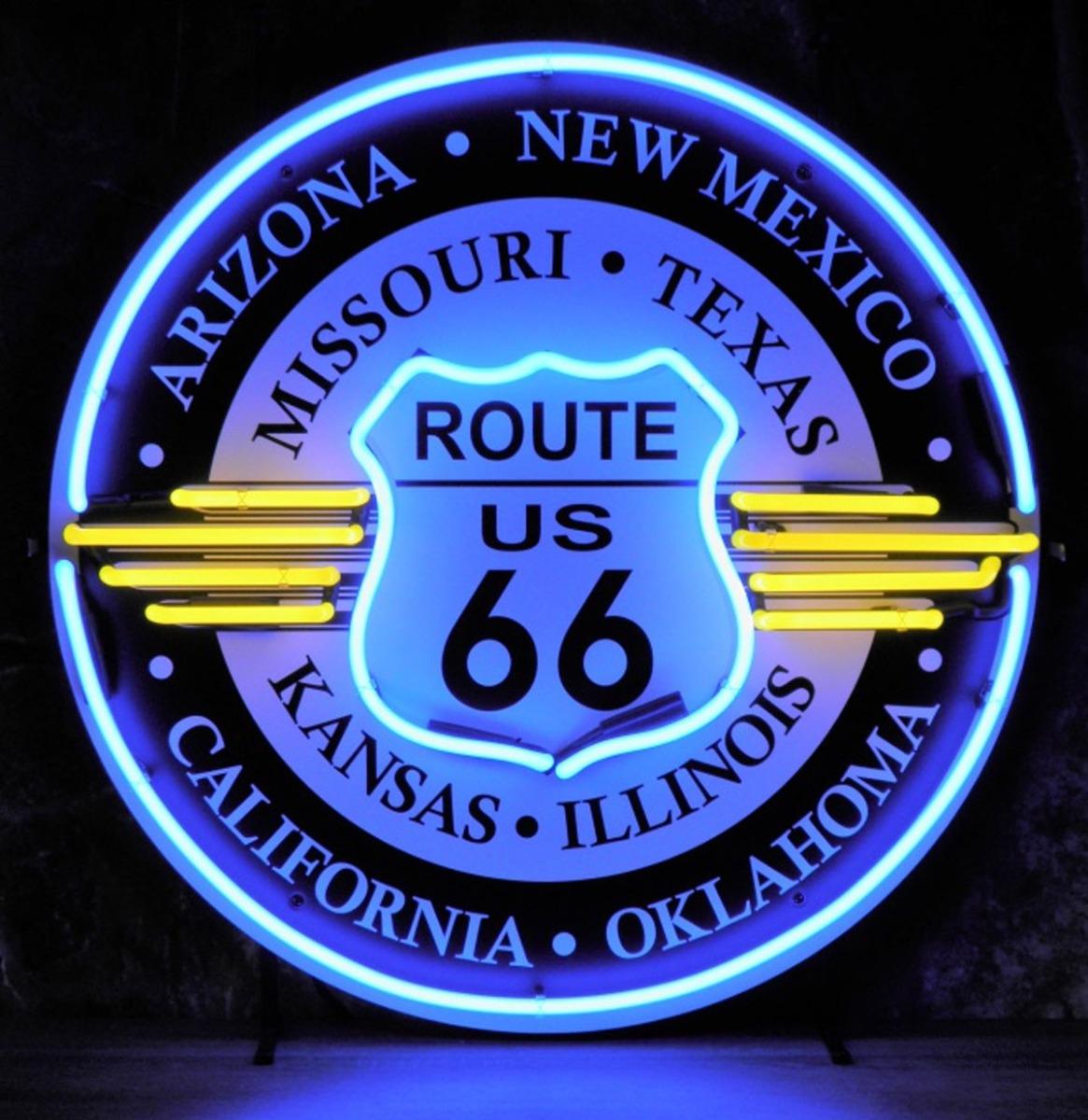 Route 66 All States Neon Verlichting Met Achterplaat 65 x 65 cm