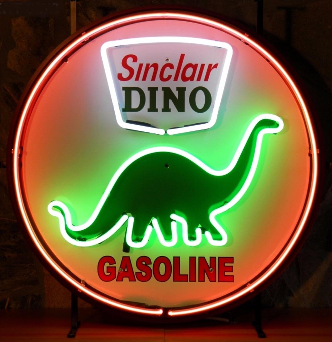 Sinclair Dino Gasoline Neon Met Achterplaat 60 cm