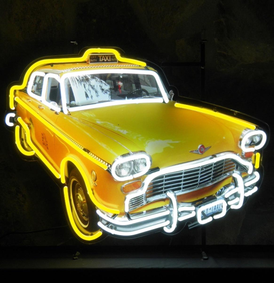 Yellow New York Taxi Cab Neon Verlichting Met Achterplaat 78 x 60 cm