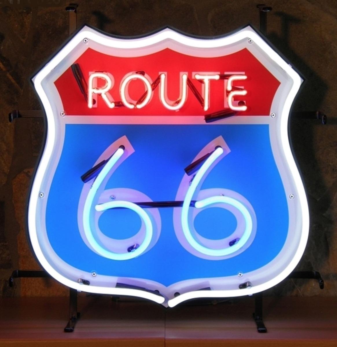 Route 66 Neon Met Achterplaat 48 X 50 cm