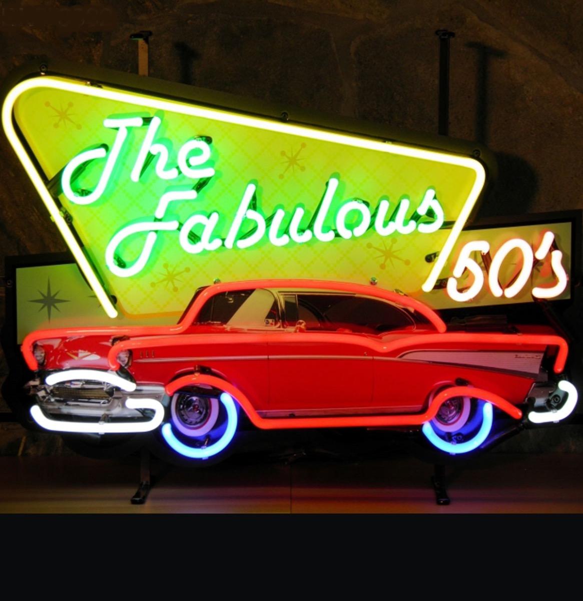 The Fabulous 50's Rode '57 Chevy Neon Neon Verlichting Met Achterplaat 70 x 50 cm