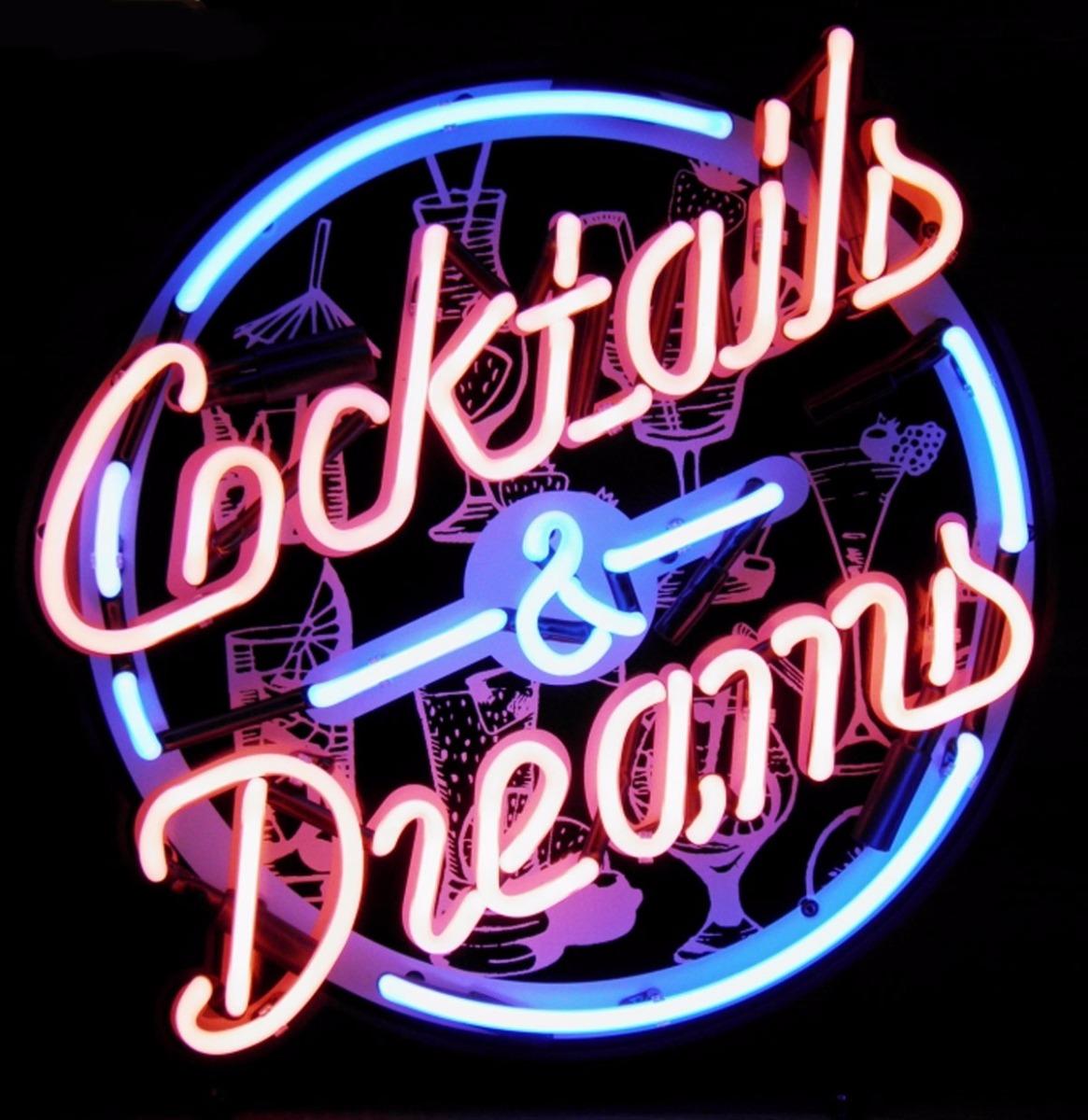 Cocktails & Dreams Neon Met Achterplaat 50 x 50 cm