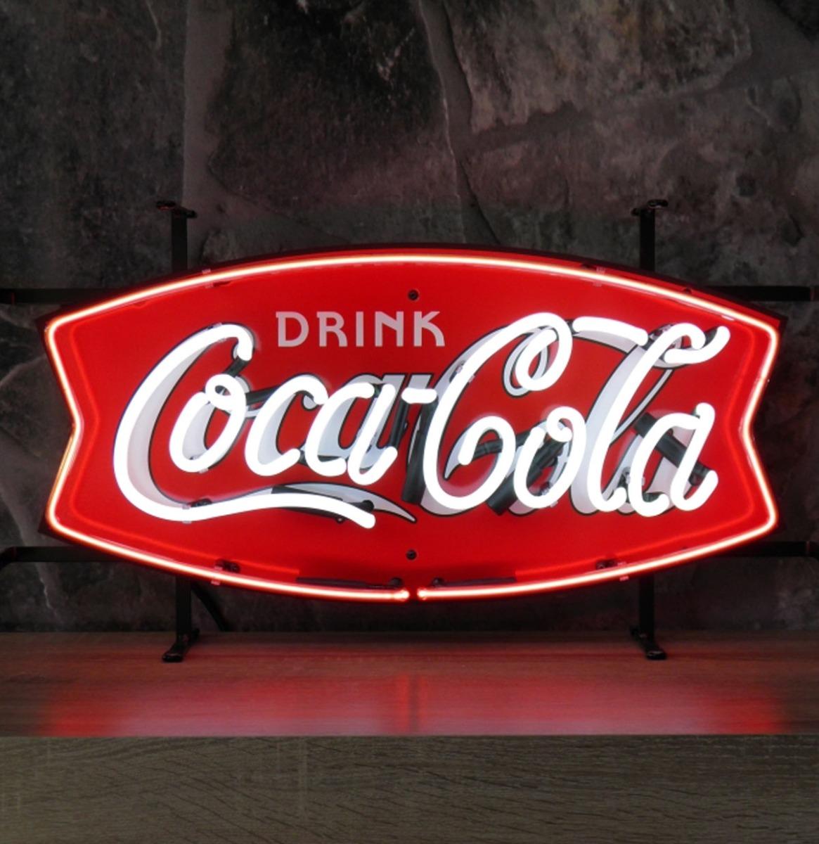 Coca-Cola Fishtale Neon Met Achterplaat 62 x 35 cm