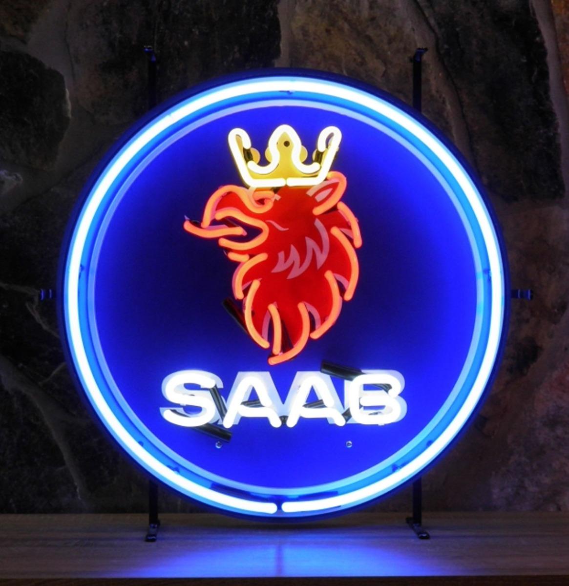 Saab Logo Neon Met Achterplaat 60 x 60 cm - SPECIALE BESTELLING