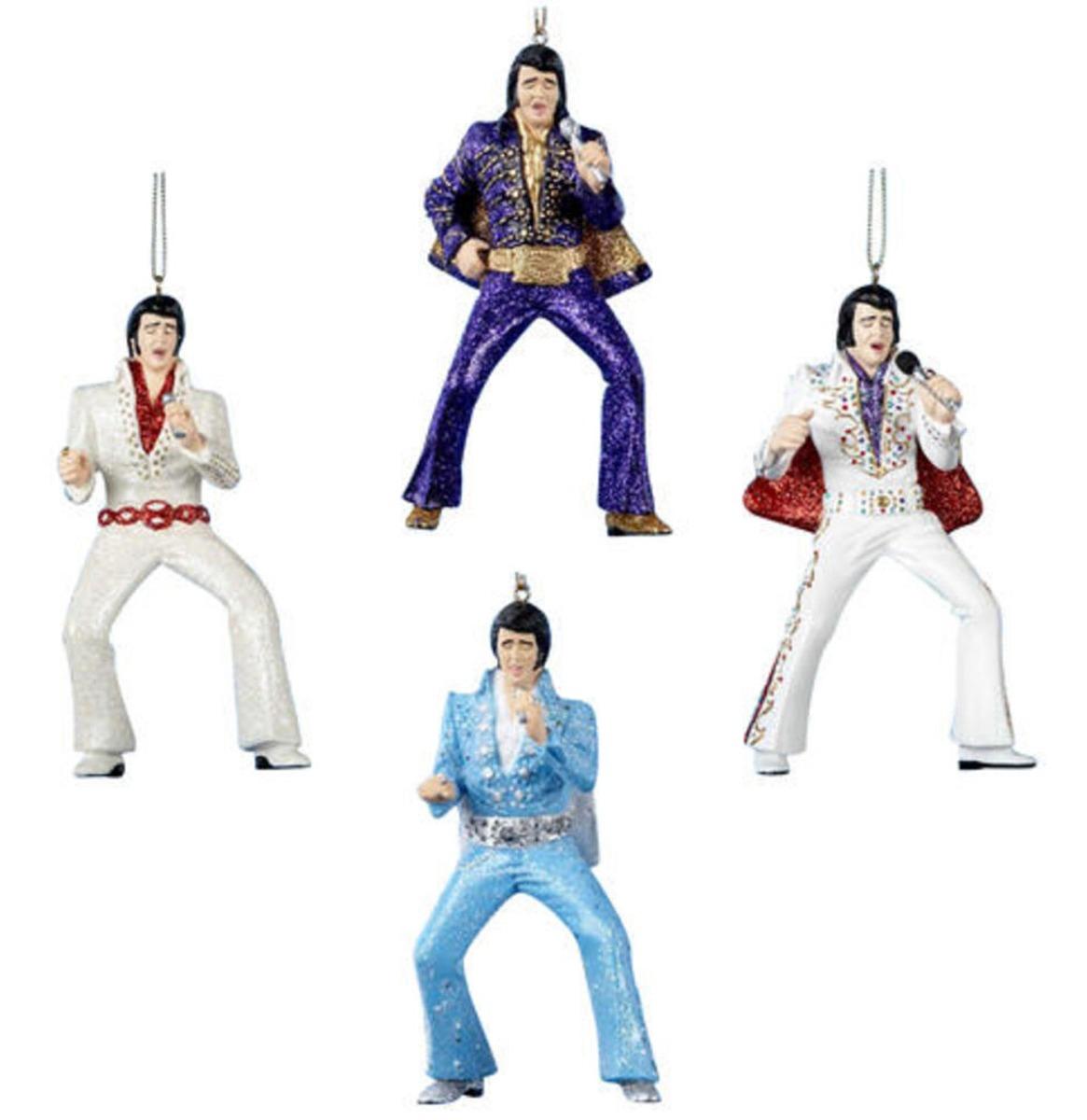 Elvis Presley In Jumpsuit Kerst Ornamenten - Set Van 4