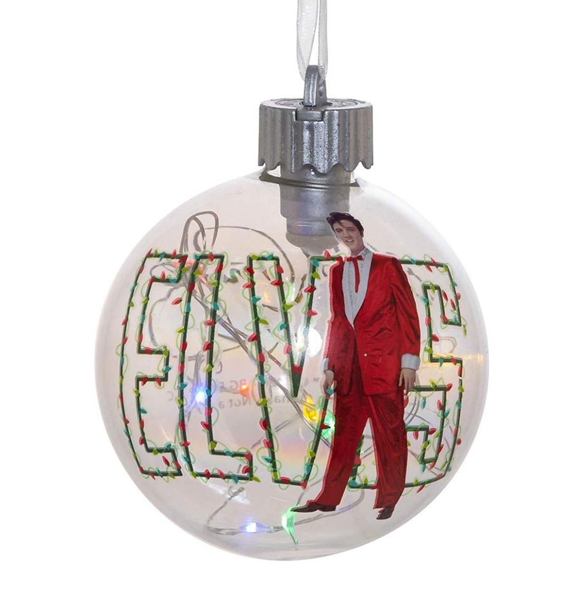 Elvis Presley Led Glazen Bal Kerst Ornament