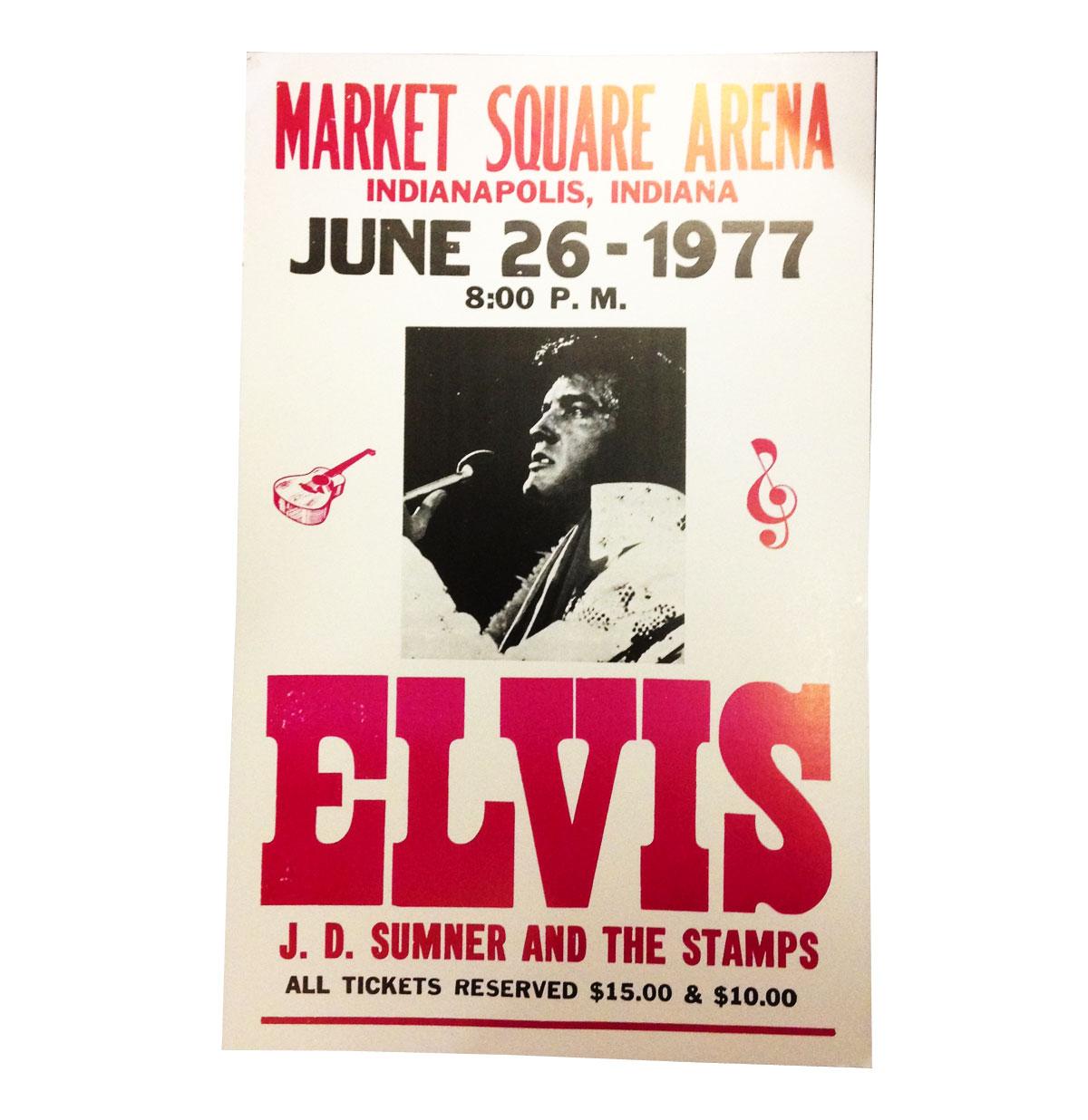 Elvis Presley aankondiging poster Market Square 1977