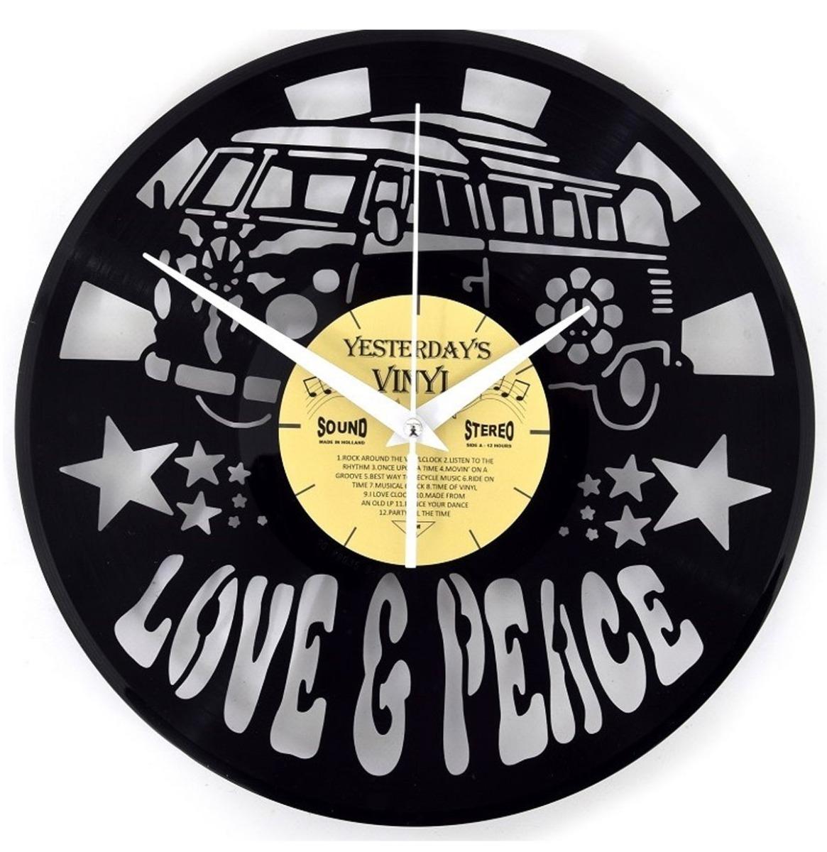 fiftiesstore Vinyl Klok Love And Peace Bus - Gemaakt Van Een Gerecyclede Plaat - GELIMITEERDE OPLAGE