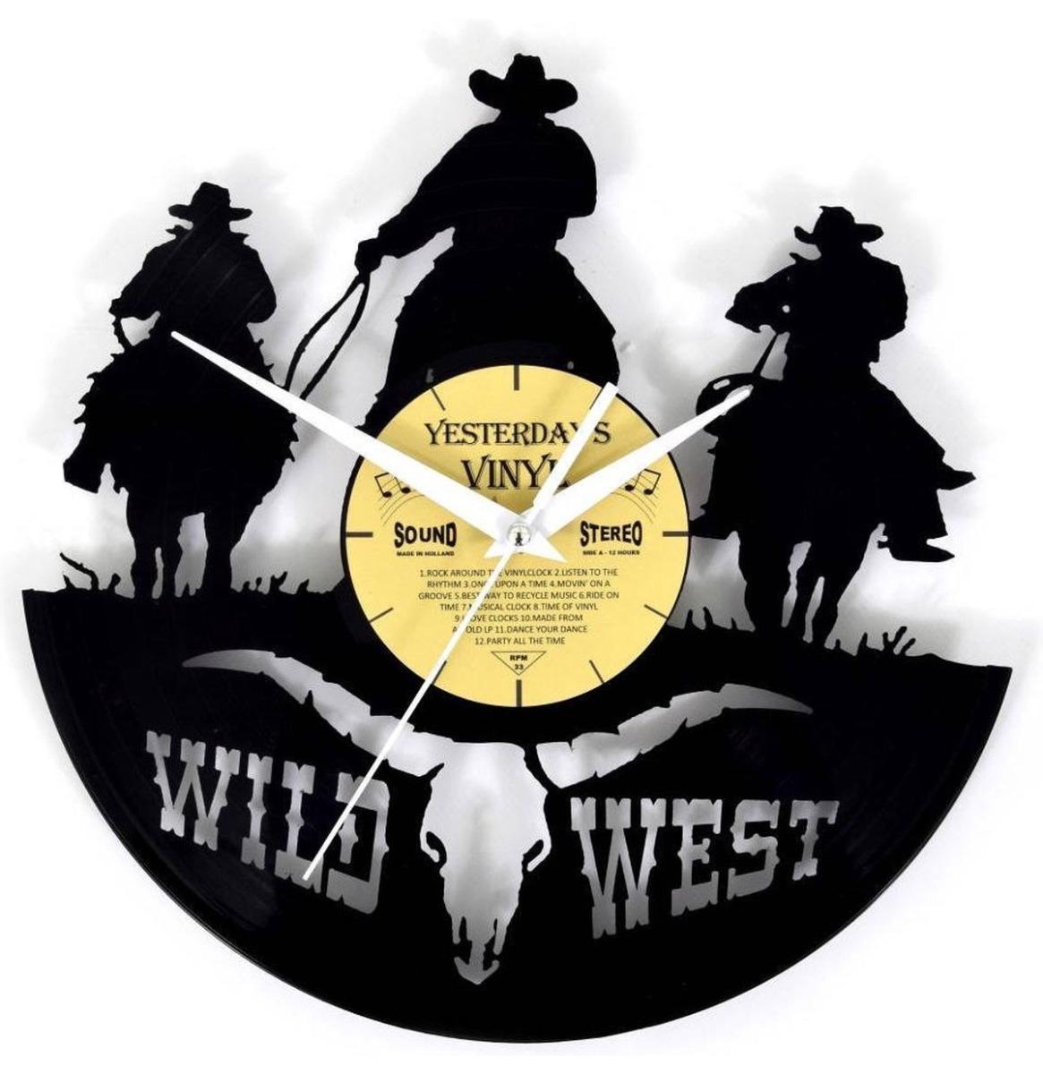 fiftiesstore Vinyl Klok Wild West Cowboys - Gemaakt Van Een Gerecyclede Plaat