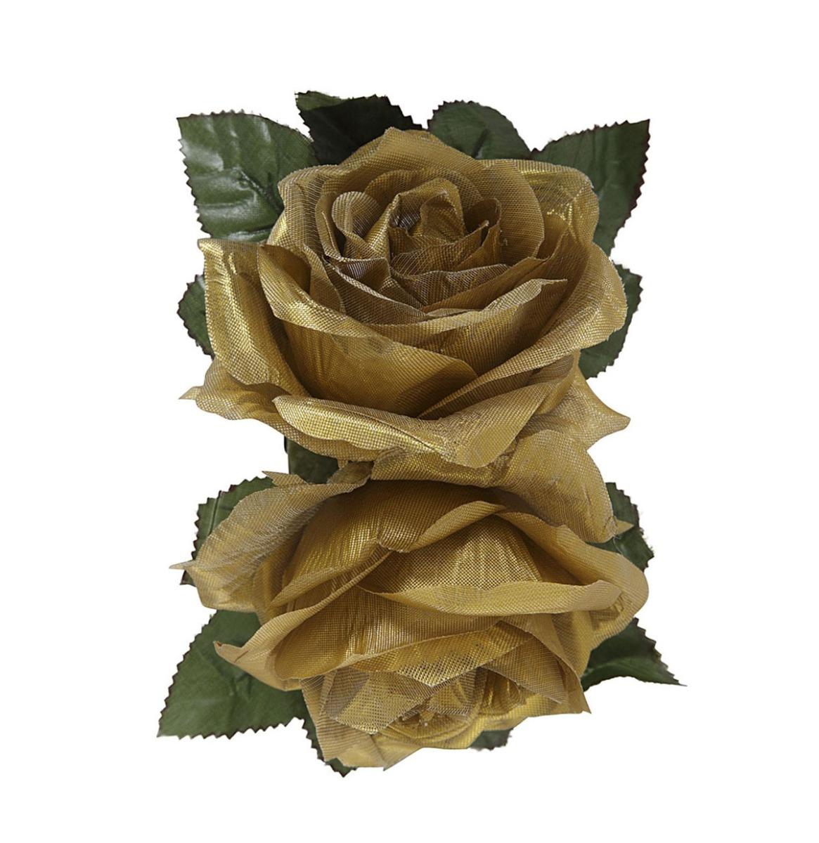 Collectif Festive Double Rose Hair Flower Goud