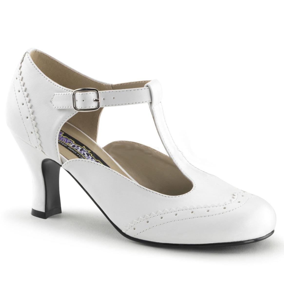 Pinup Couture Kitten Heel T-Strap Pumps Wit