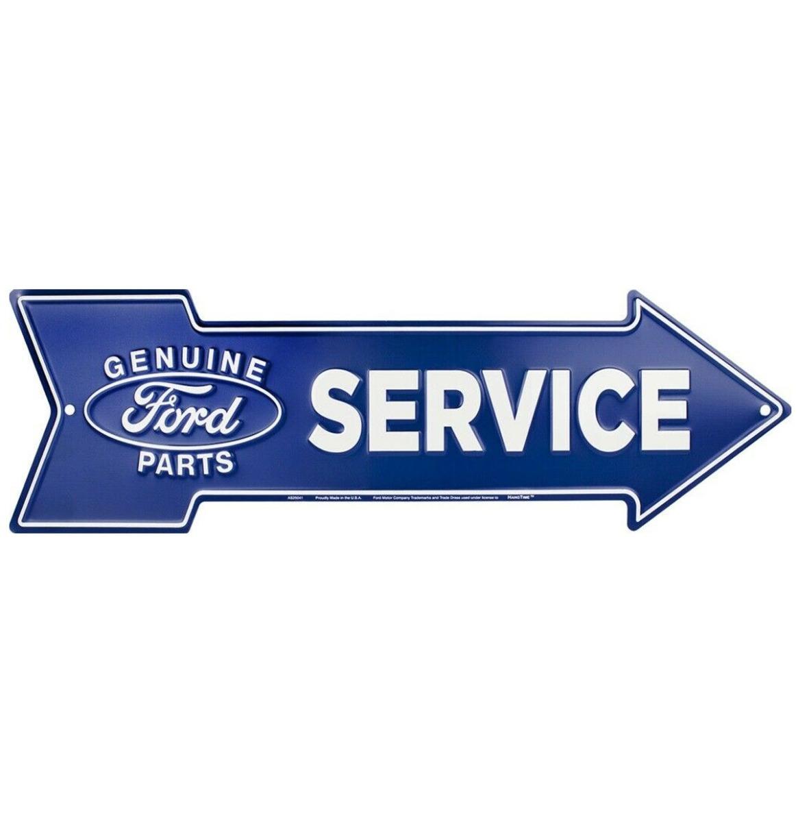 Ford Service Pijl Bord Aluminium - Blauw 50 x 14,5 cm