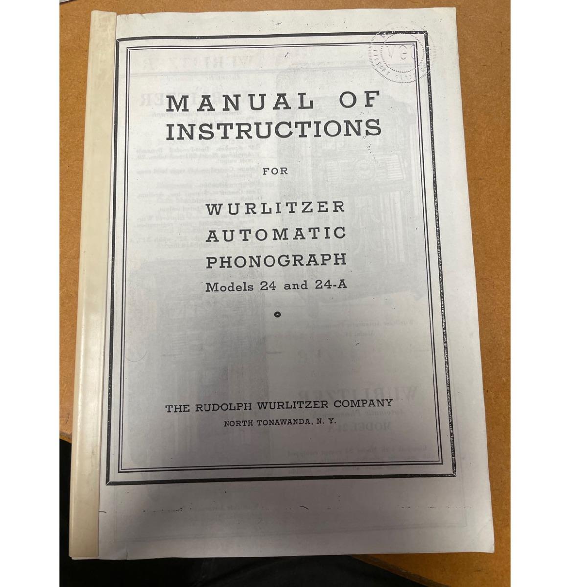 Wurlitzer 24 24a manual of instructions copy