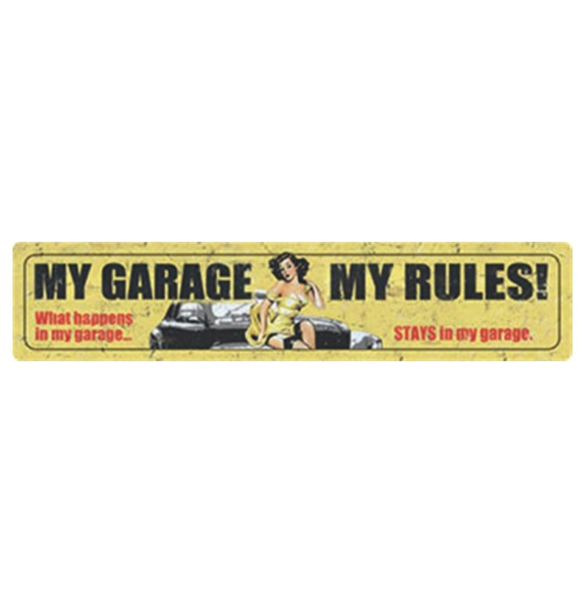 Fiftiesstore My Garage My Rules Metalen Bord 46 x 10 cm