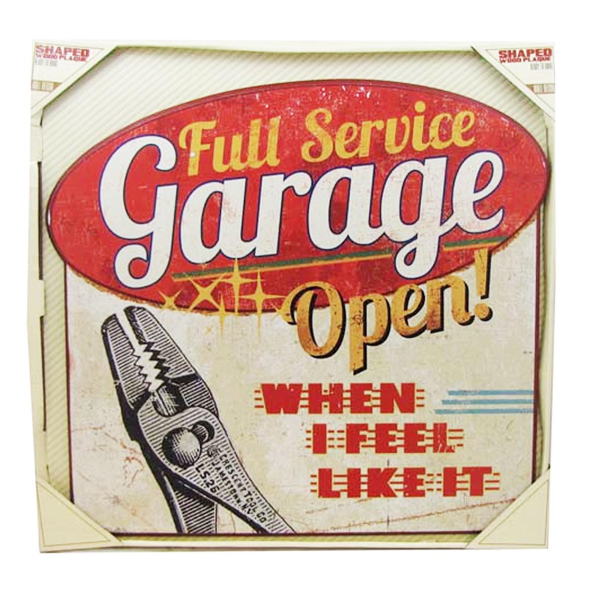 Full Service Garage Open! Houten Bord