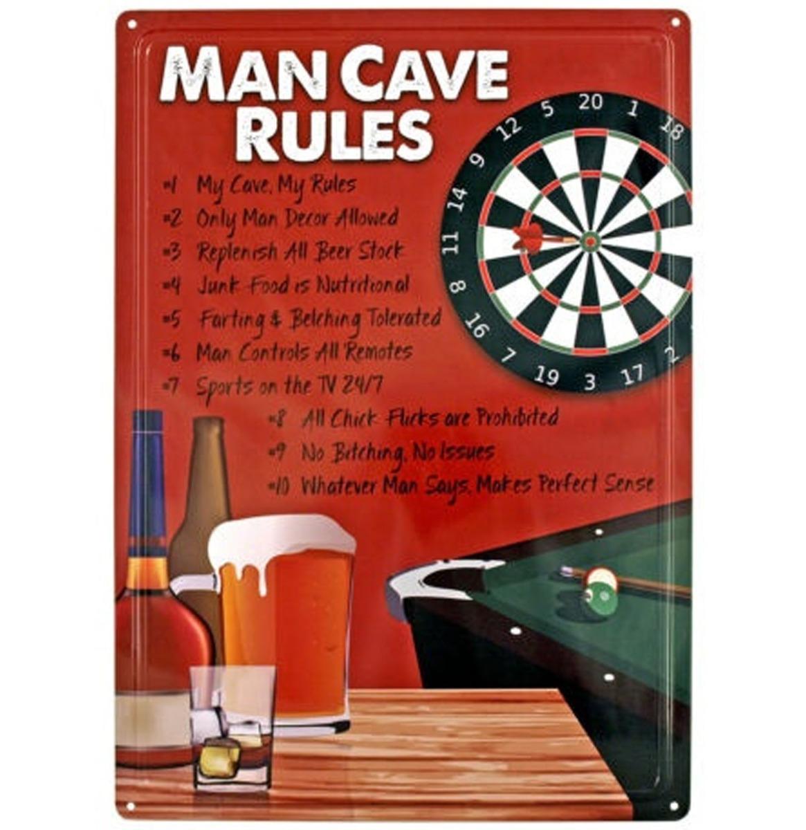 Man Cave Rules - Metalen Bord Met Reliëf - 43 x 31 cm