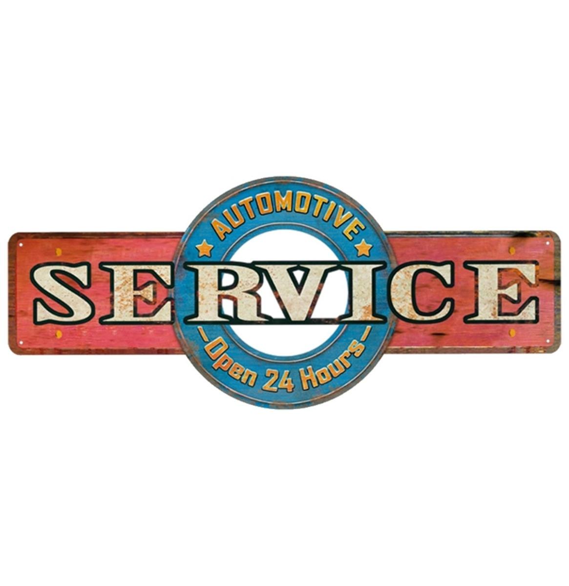 Service Automotive Open 24 Hours Metalen Bord - 45 x 19 cm
