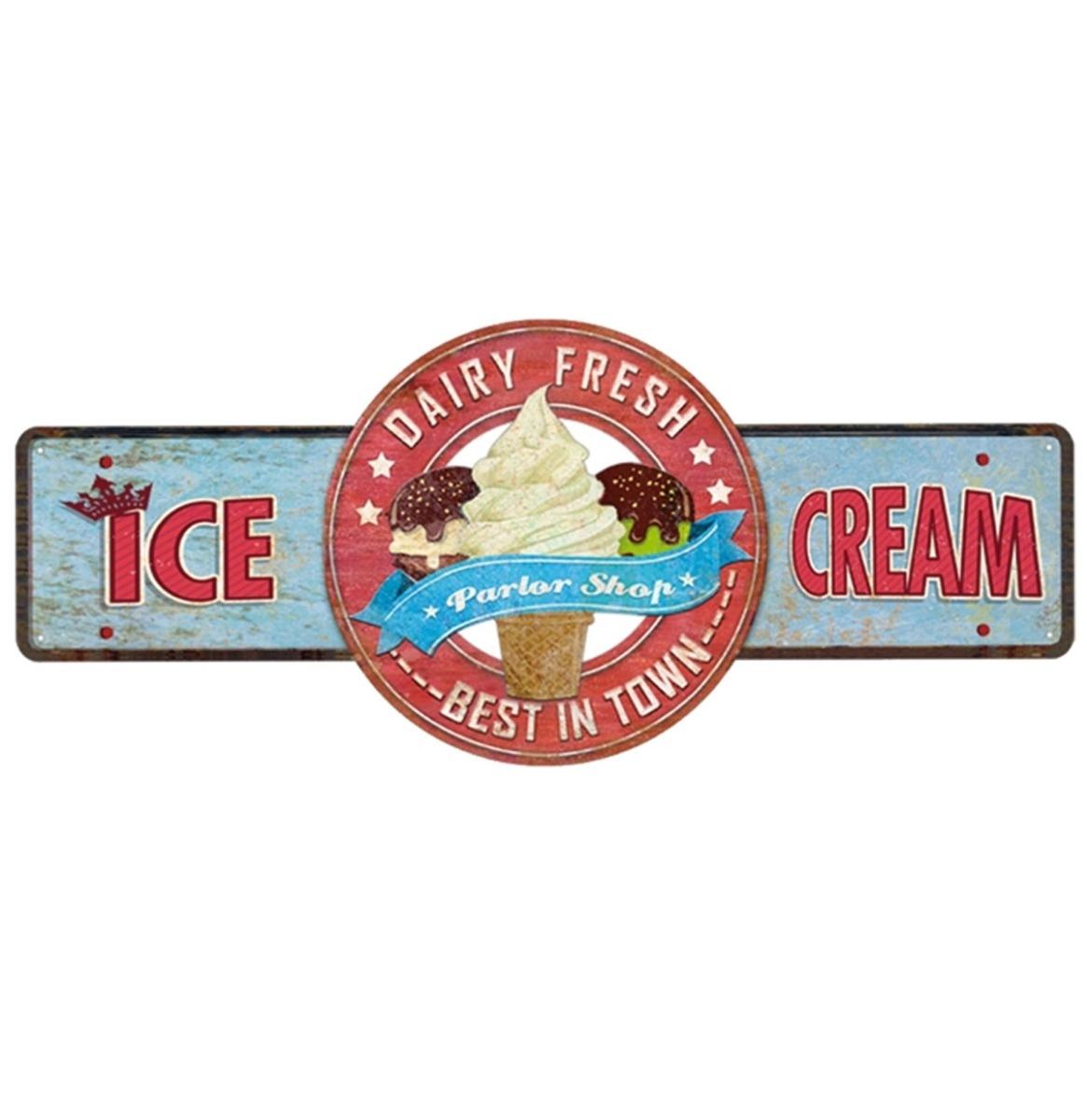 Dairy Fresh Ice Cream Metalen Bord - 45 x 19 cm