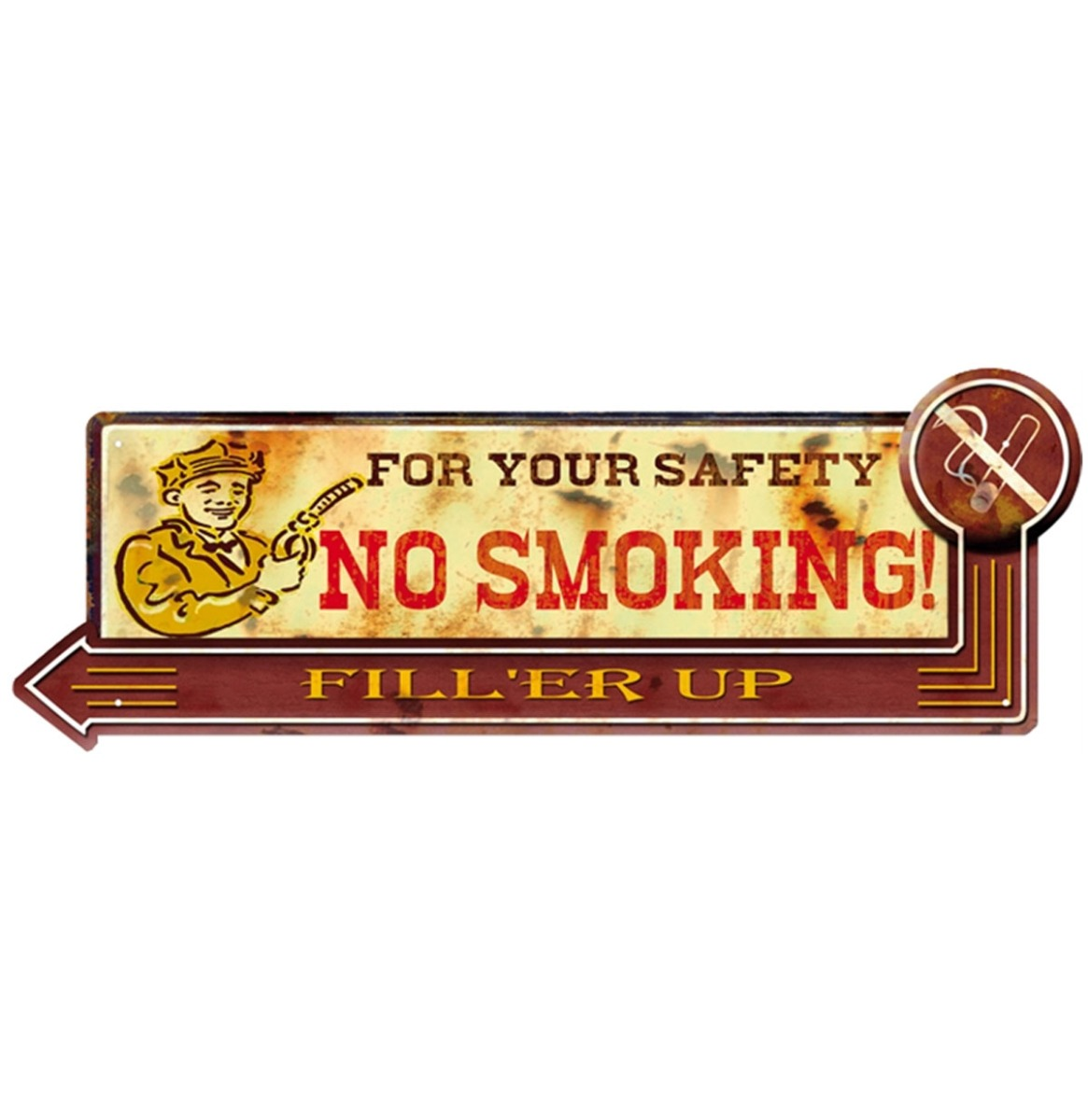 For Your Safety No Smoking Metalen Bord - 50 x 18 cm