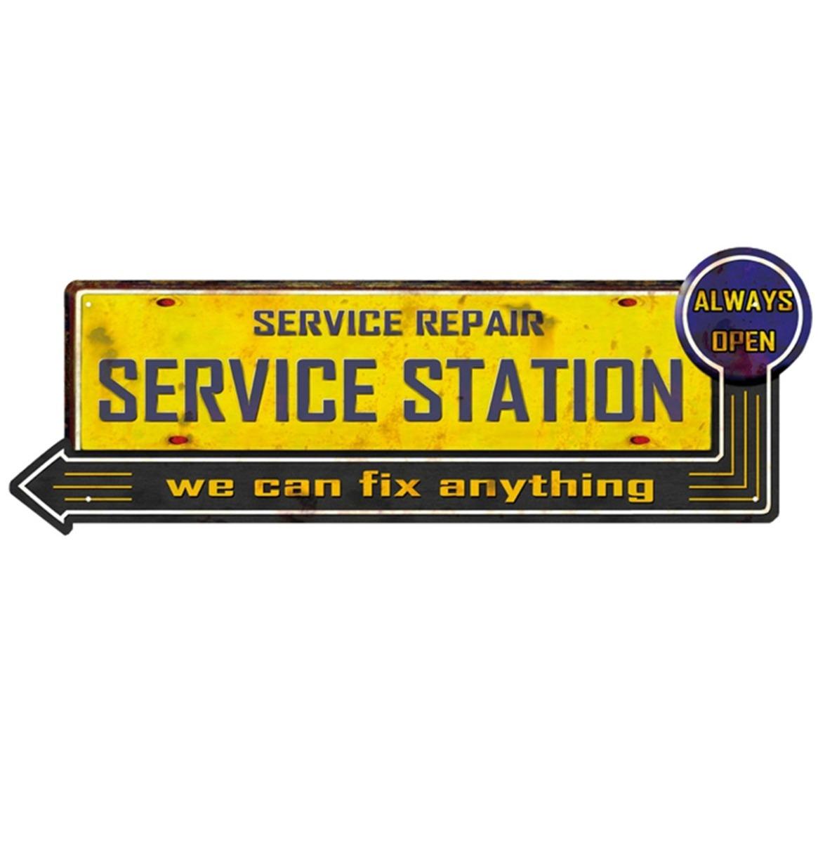 Service Repair Service Station Metalen Bord - 50 x 18 cm