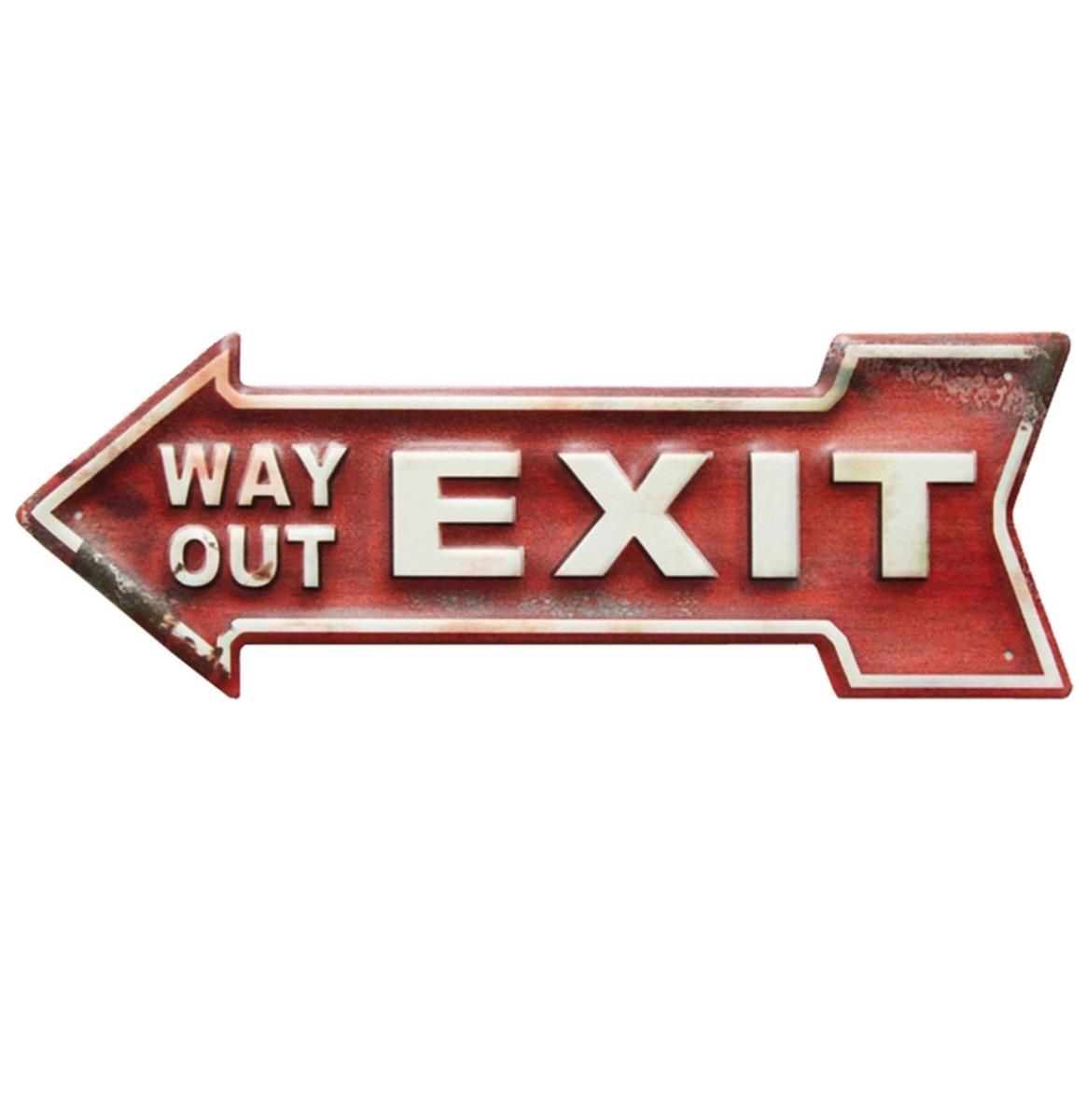 Exit Way Out Arrow Metalen Bord Met Reliëf - 40 x 14 cm