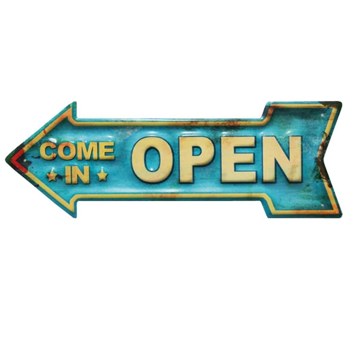 Come In Open Metalen Bord Met Reliëf - 40 x 14 cm