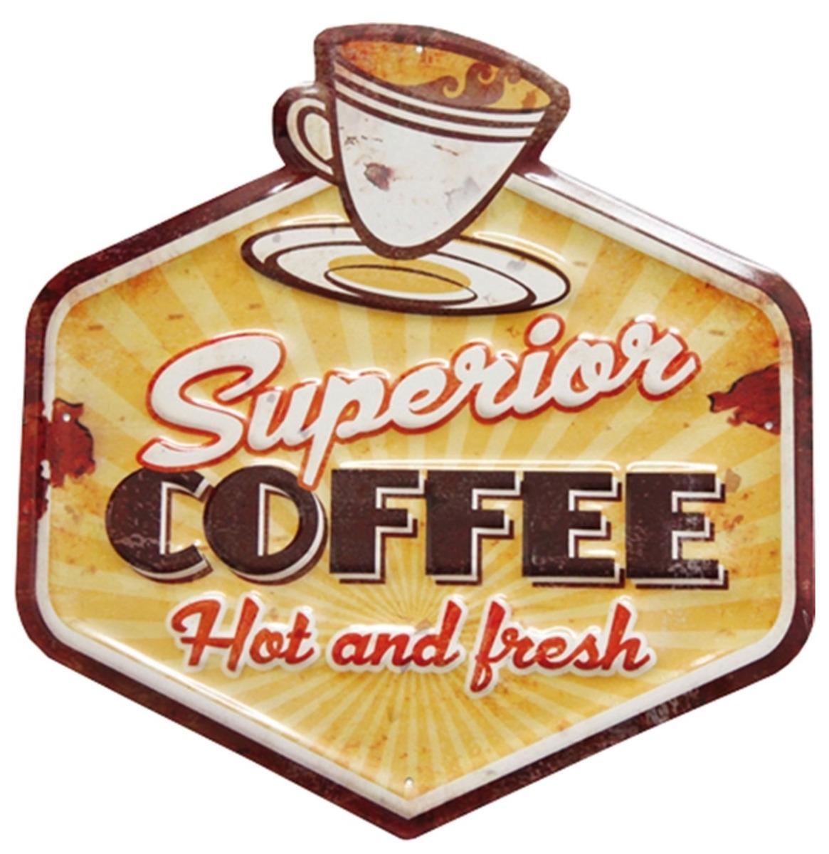 Superior Coffee Hot And Fresh Metalen Bord Met Reliëf - 30 x 32 cm