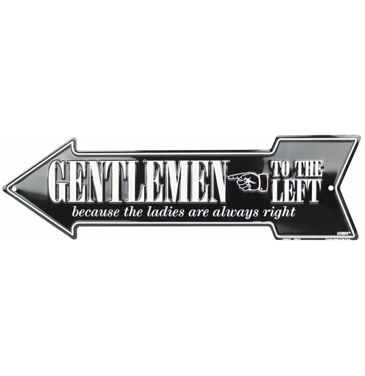 Gentlemen To The Left Pijl Bord Aluminium - Zwart 50 x 14,5 cm