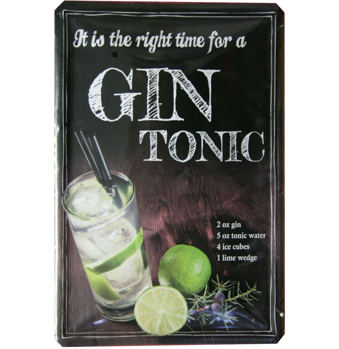 Gin Tonic Metalen Bord 20 x 30 cm